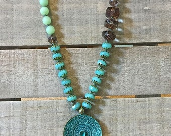 Long knotted gemstone necklace, bohemian layering knotted necklace, reversible pendant, green/topaz/jade,  boho statement necklace
