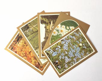 Vintage Nature Photography Birthday Cards with Envelopes - Set of 5