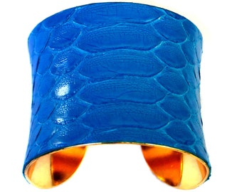 Bright Blue Snakeskin Gold Lined Cuff Bracelet - by UNEARTHED