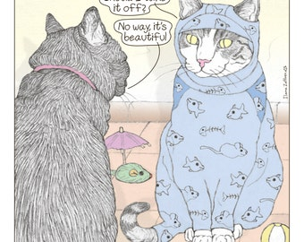 Cats print - Burkini in English -  featuring Spageti, the famous Israeli cat from Ha'aretz Newspaper Comics