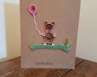 New Baby Congratulations Card. Personalised Paper Quilled crochet Handmade Teddy Bear. Grandma Auntie, Granddad, Uncle, Baby girl, Baby boy.