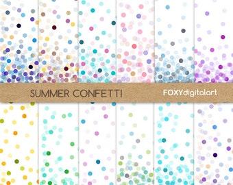 "Confetti Digital Paper Set, ""Throw Some Confetti"" Colorful Digital Backgrounds, Scrapbooking, Invitations, Confetti, Party, Festive- DP12"