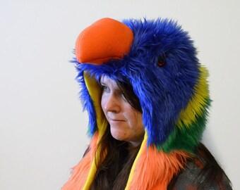 Rainbow Lorikeet Scoodie. Spirit Hood. Parrot Costume. Bird Hat.