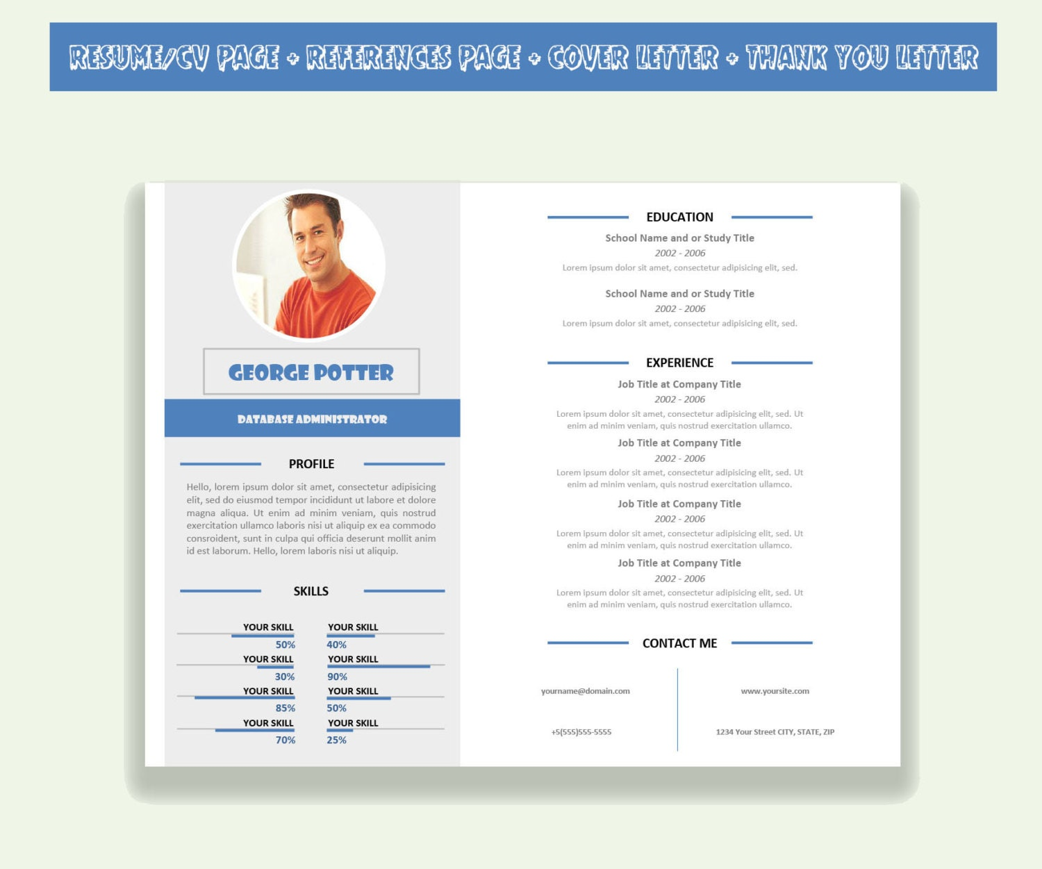 Horizontal Resume Template CV Template Pack Microsoft Word
