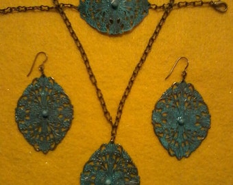 Turquoise & Brass Jewelry Set