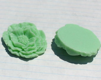 GIANT Ruffle Rose Cabochons - Lot of 4 - 40x45mm - Sea Foam Green Color