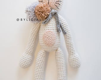 Crochet Cat Stuffed Animal Toy with Pom Pom and Personalized Scarfs