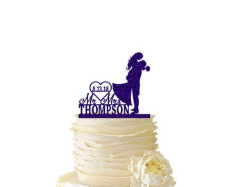 Glitter Groom Lifting Bride Personalized With Name and Date - Wedding - Anniversary -  Acrylic  Cake Topper - 129
