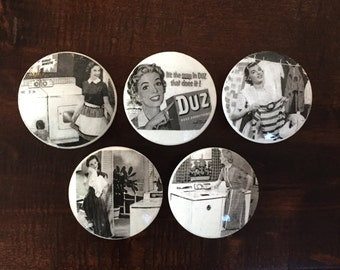 """2"""",vintage housewives,50's housewives,laundry room knobs,cabinet knobs,drawer pulls,black and white knobs,laundry room,SOLD SEPARATELY"""