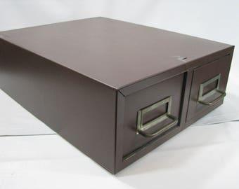 Vintage Steel Two Drawer Index Card Filing Cabinet