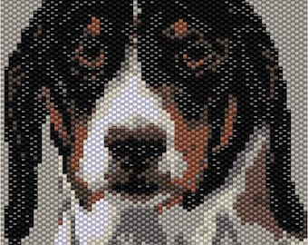 Peyote Dog Tapestry Bead Pattern, Wall Art, Seed Beading Pattern Miyuki Delica Size 11 Beads - PDF Instant Download