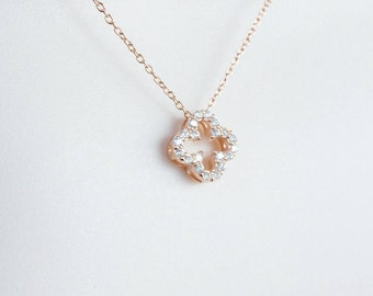 Rose gold plated Sterling silver  quatrefoil necklace with cz stones, clover necklace, flower necklace, cz flower necklace