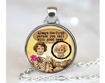 Friends Collage Pendant, Funny Pendant, Girlfriends Gift Pendant, Glass Cabochon Necklace, Vintage Collage Art Pendant, Bronze, Silver, 1406