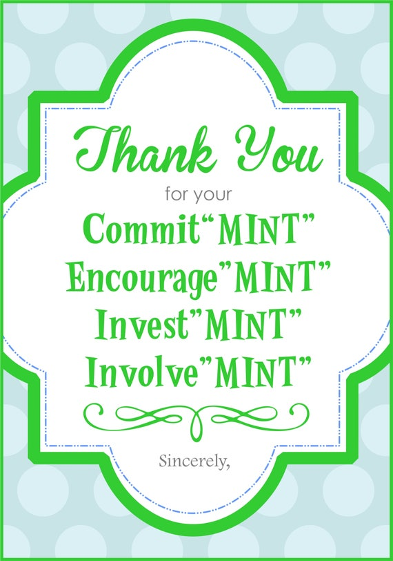 picture about Thank You for Your Commit Mint Free Printable titled Stunning Thank On your own For Your Devote Mint PL55