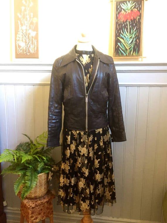 Vintage/70s/brown/leather motorcycle/jacket/Paris/Petroff/earthy tones