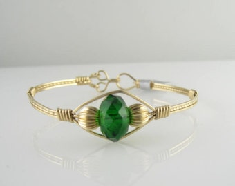 WSB-0029 Handmade Chinese Crystal and 14k Gold Filled Wire Wrapped Bangle Bracelet