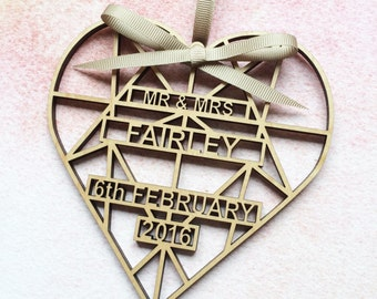Personalised Wooden Wedding Heart