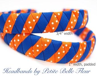 Ribbon Headbands   University of Florida Headband, Boutique Ribbon Headband, Florida Gators, Orange and Blue