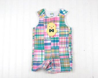 Easter Boy Clothes - Easter Chick Outfit - Patchwork Plaid Shortall for Boys - Preppy Easter Jon Jon - Boys Easter Romper - Baby Boy JonJon