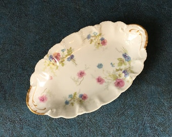 Antique Theodore Haviland Limoges Oval Relish Dish, Pink and Blue Flowers with Gold Trim