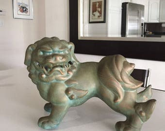 Foo Dog Statue/JUST REDUCED/Asian Modern Ceramic Foo Dog/Feng Shui Decor/Lion Dog/Ceramic Foo Dog/ By Gatormom13