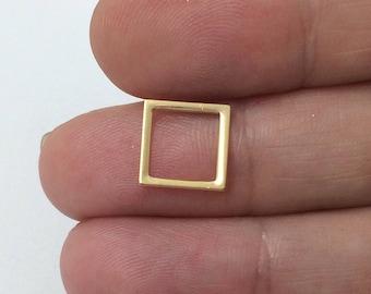 25pcs Gold filled Square Geometric Charm Link 10mm , Gold Square Charms , Gold Square Link Pendant , Gold fill Square geometric charms