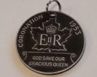 1953 coronation coin pendent