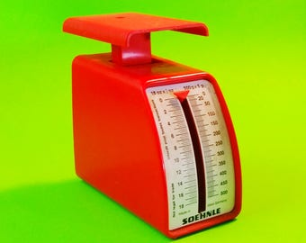 Soehnle Kitchen Scale Red and White Grams Ounces West German Vintage MidCentury Retro Kitschy Home