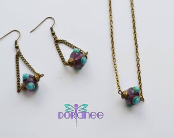 Set earrings and necklace beads