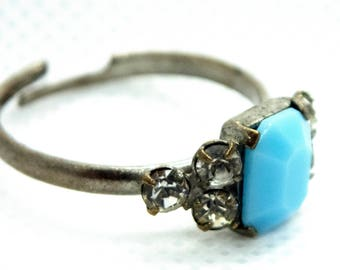 Silver and Faux Turquoise Open Ring