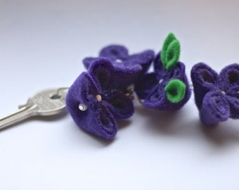 Plumeria,  Purple Flower Keychain