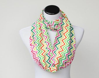 Infinity scarf, spring colors scarf pink yellow green orange circle scarf, loop scarf chevron - gift women and teen girls