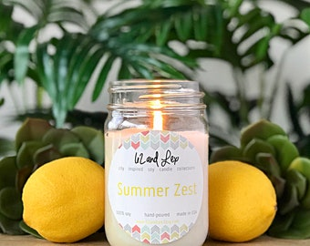 Summer Zest Soy Candle/Candle/Soy Candle/Lemon Candle/