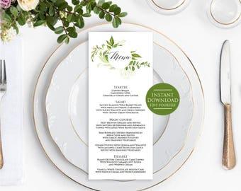 Menu Printable Template, Wedding green menu,Wedding Menu Template, Menu Template, Editable Menu Template, Menu Printable Wedding, 4x9.5 menu