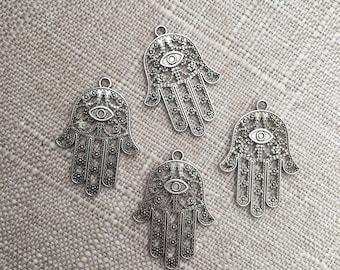 Silver Hamsa Hand Pendant Charm