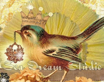 Bird and Ephemera beautiful vintage style BLOG Banner by Sea Dream Studio one of a kind