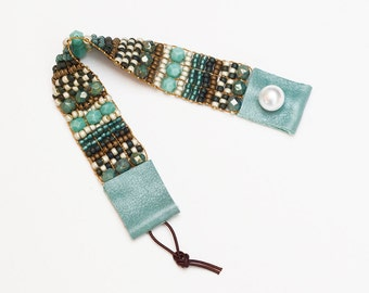 ON SALE! Bead Woven Bracelet in Turquoise and Blues