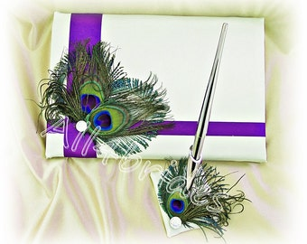 Peacock weddings guest book, Purple accent peacock feathers guest book and pen set.