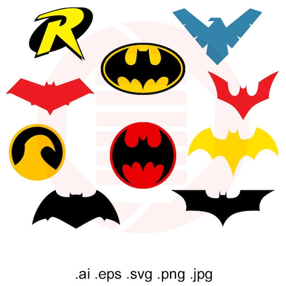 Superhero Hero Svg Batman Robin Logo Symbol Vector Clipart
