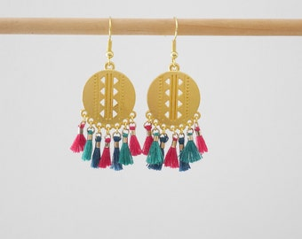 Dangling style ethnic fuchsia, emerald green, Teal and gold tassel (BO190)
