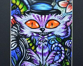 Cheshire Cat Art Print of Original Painting Black Matted To 11x14