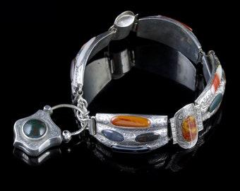 Antique Victorian Scottish Bracelet Agate Padlock Silver Circa 1860