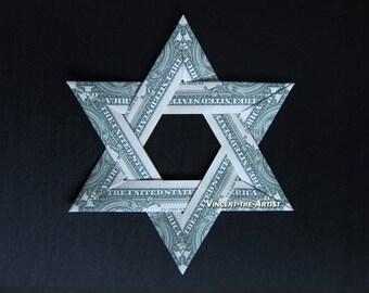 Large STAR OF DAVID Money Origami Dollar Bill Cash Sculptors Bank Note Handmade