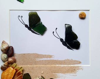 Butterfly  Cornish Pebble Art Sea Glass Sand and Shell Picture Unique Gift Present