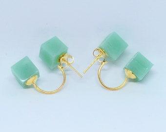 Double cube earrings, green stud earring