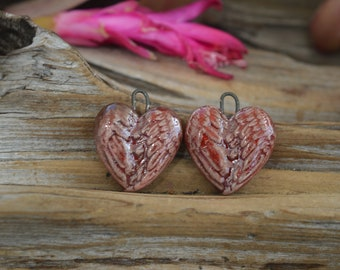 Feathered Hearts- Handmade Porcelain Raku Bead Pair