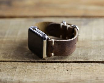 Leather Apple Watch Strap | 38mm 42mm iWatch Band | Series 1, 2 Series 3 Apple Watch | Horween Brown Nut Leather | Loop Hardware