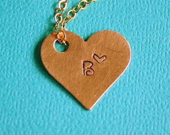 Brass Heart Necklace - Hand Stamped Jewelry - Gift - Custom Initial Pendant - Personalized