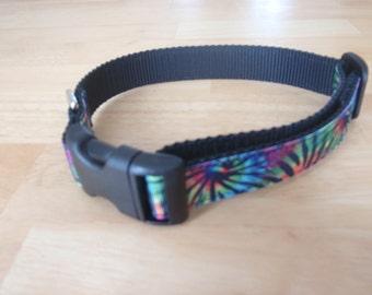 Tie Dye Dog Collar Black
