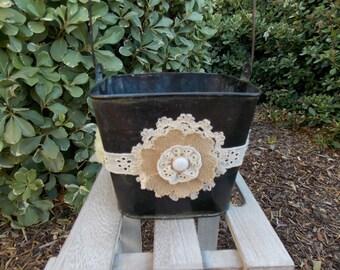 Flower Girl Basket - Flower Girl Pail - Rustic Flower Girl - Burlap Flower Girl Basket - Country Flower Girl Basket - Tin Flower Girl Bucket